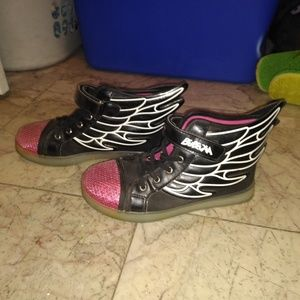 Other - Cute Velcro Winged Sneakers with Pink Sequins